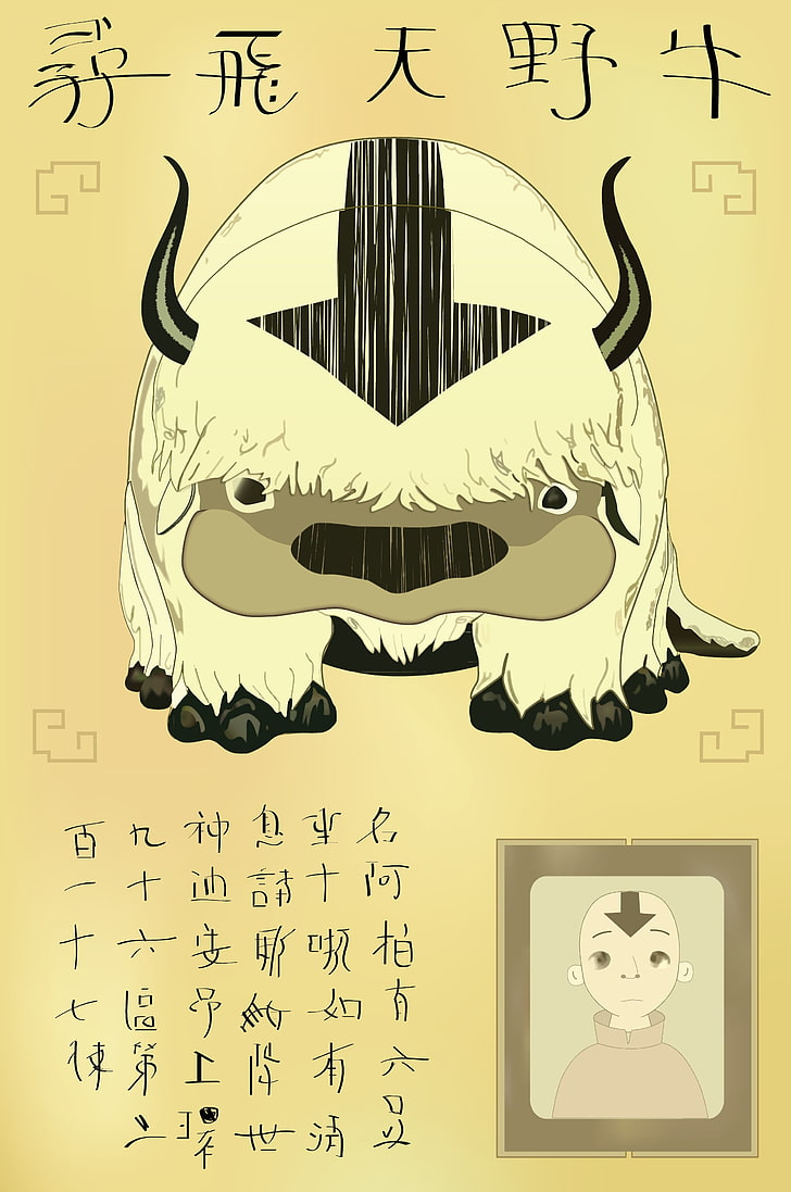 avatar the last airbender anime appa wallpaper preview