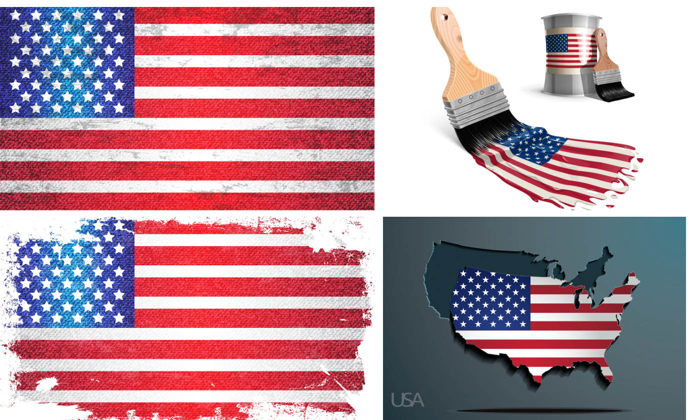 Grunge USA Flag backgrounds and America flag paper map vectors