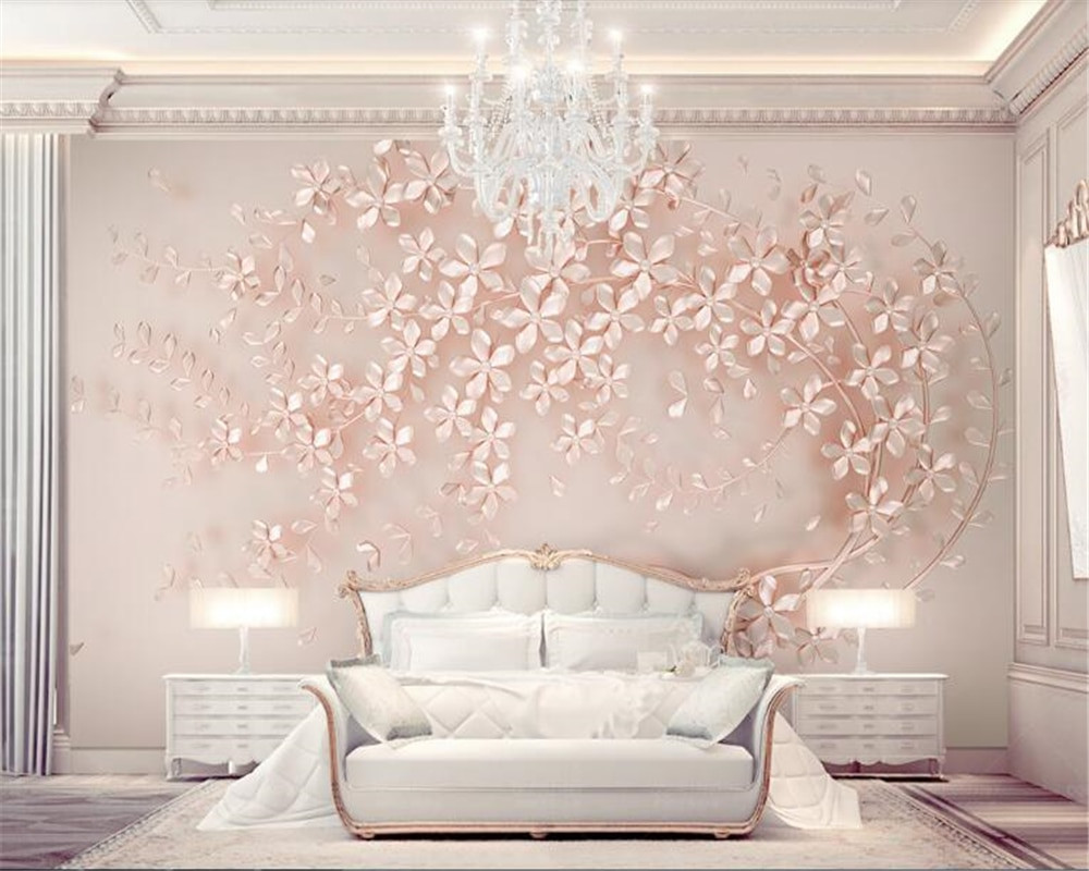 beibehang wallpaper Luxury and elegant 3D new flowers rose gold wallpaper mural TV background painting wall