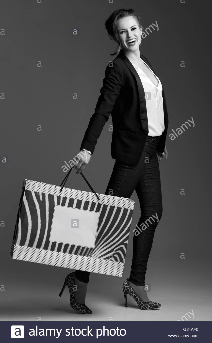 contemporary shopping in black and white aesthetic full length portrait G24AF0