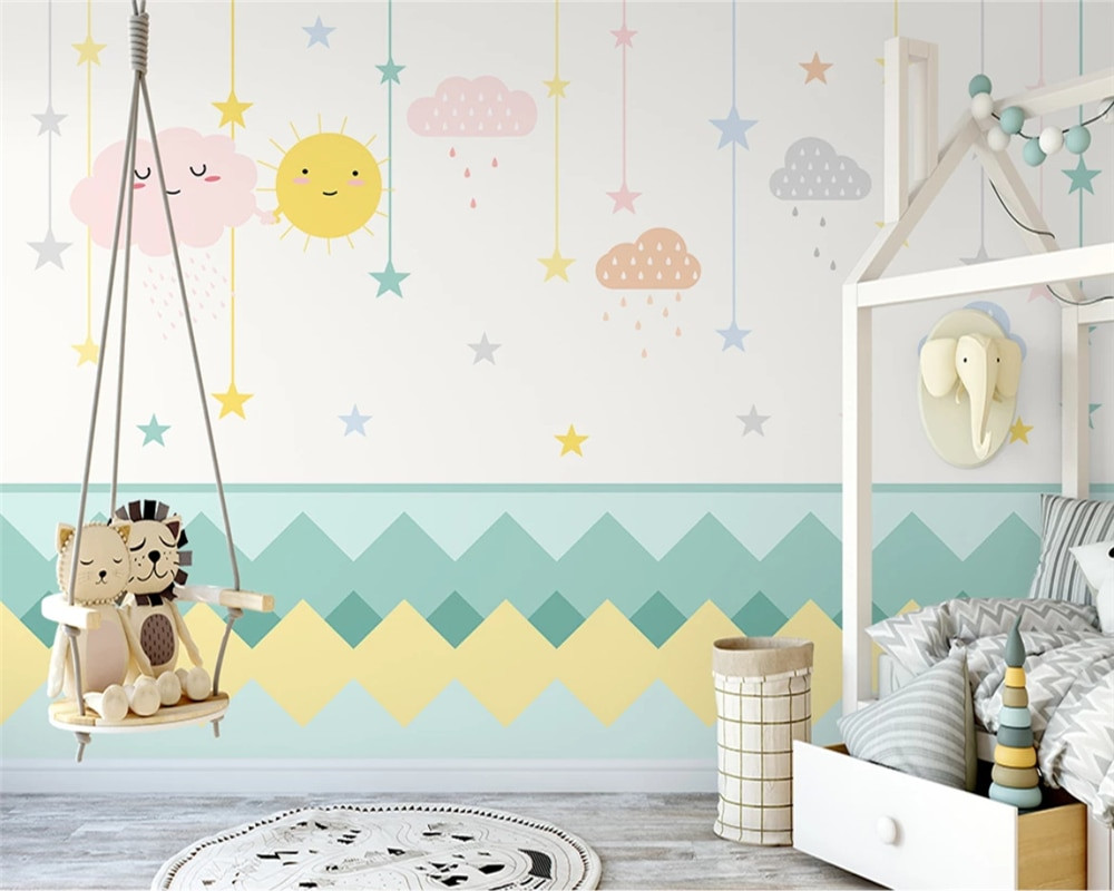 beibehang Customized nordic hand painted clouds simple children s room boy and girl background wallpaper wall