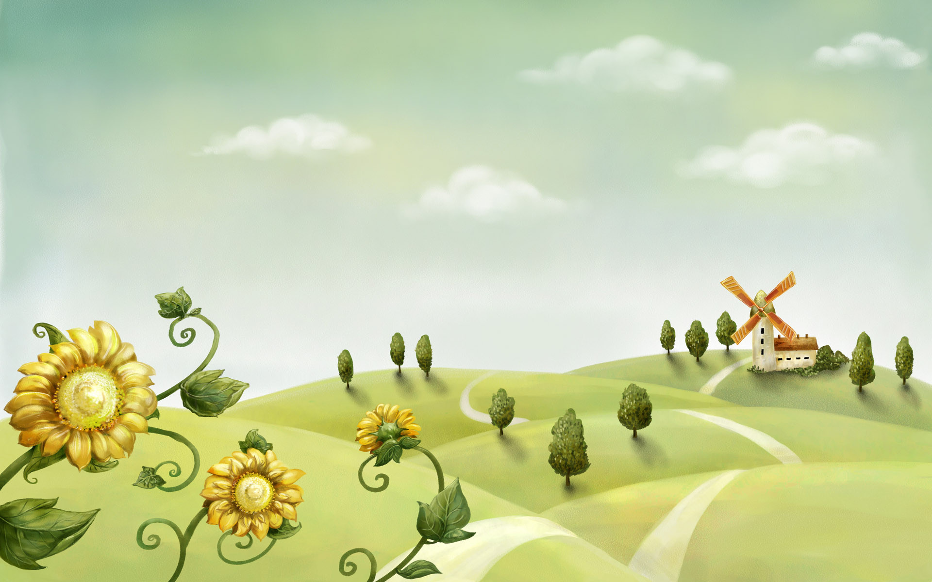 cartoon landscape illustration
