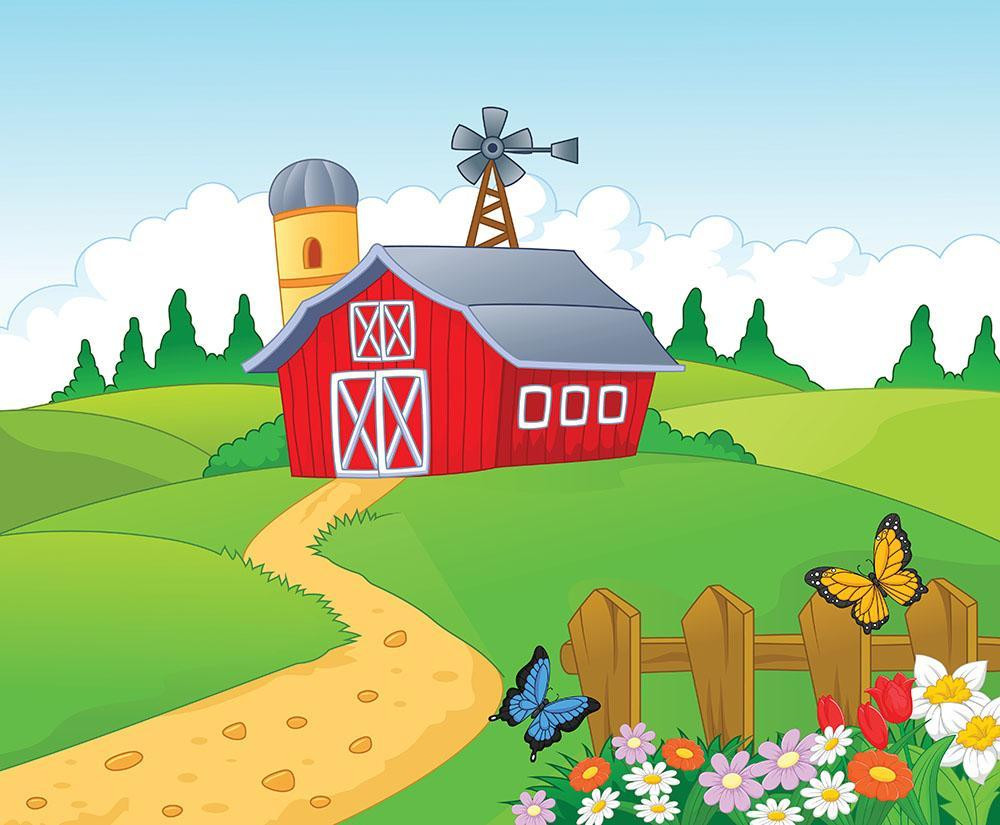 Farm cartoon background Wall Mural Wallpaper a 4e340e9a 6e48 4125 9b5b 7ffa4bc750fe 1400x