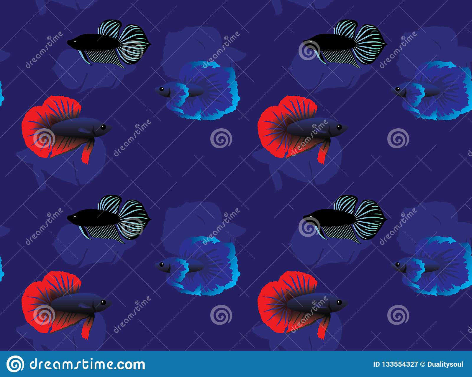 peixes de bate tailandeses plakat betta cartoon background seamless wallpaper