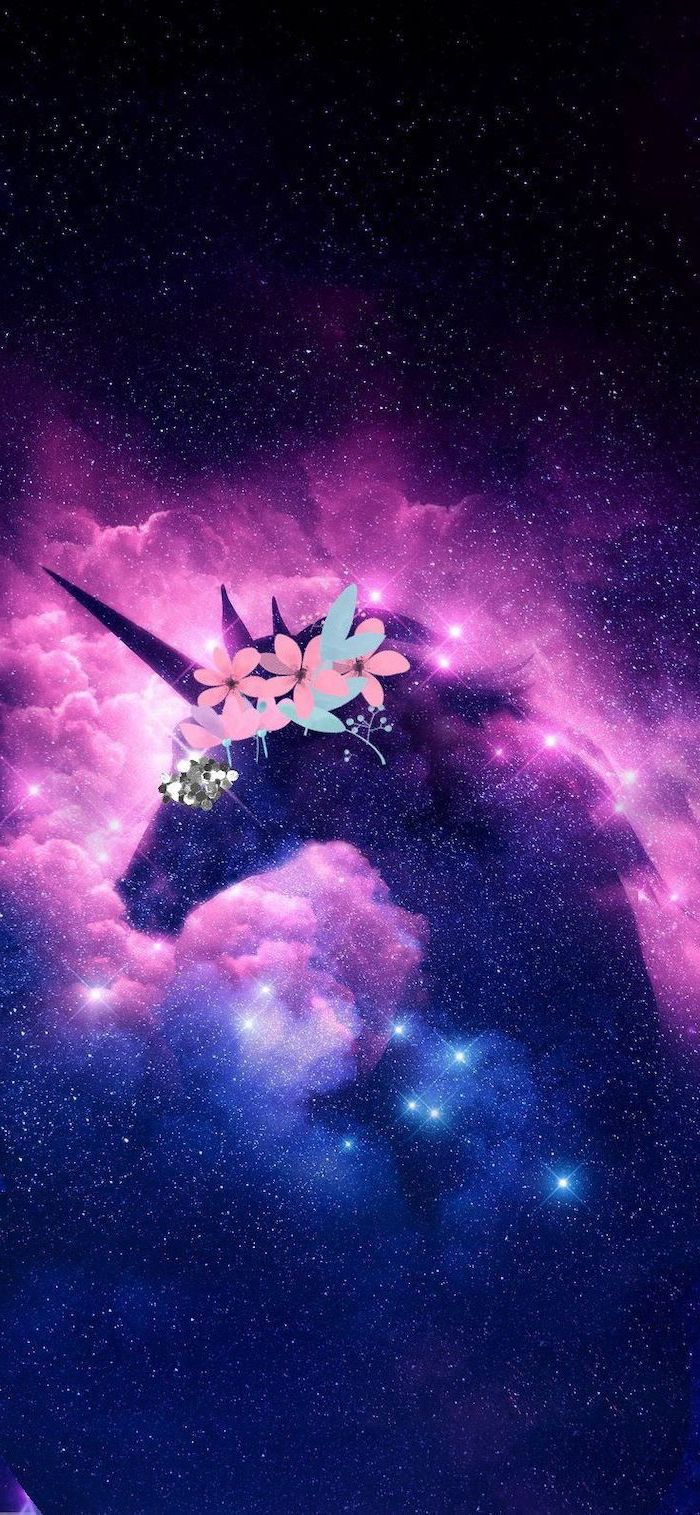 cartoon image of unicorn with floral crown outer space wallpaper pink black blue background with stars
