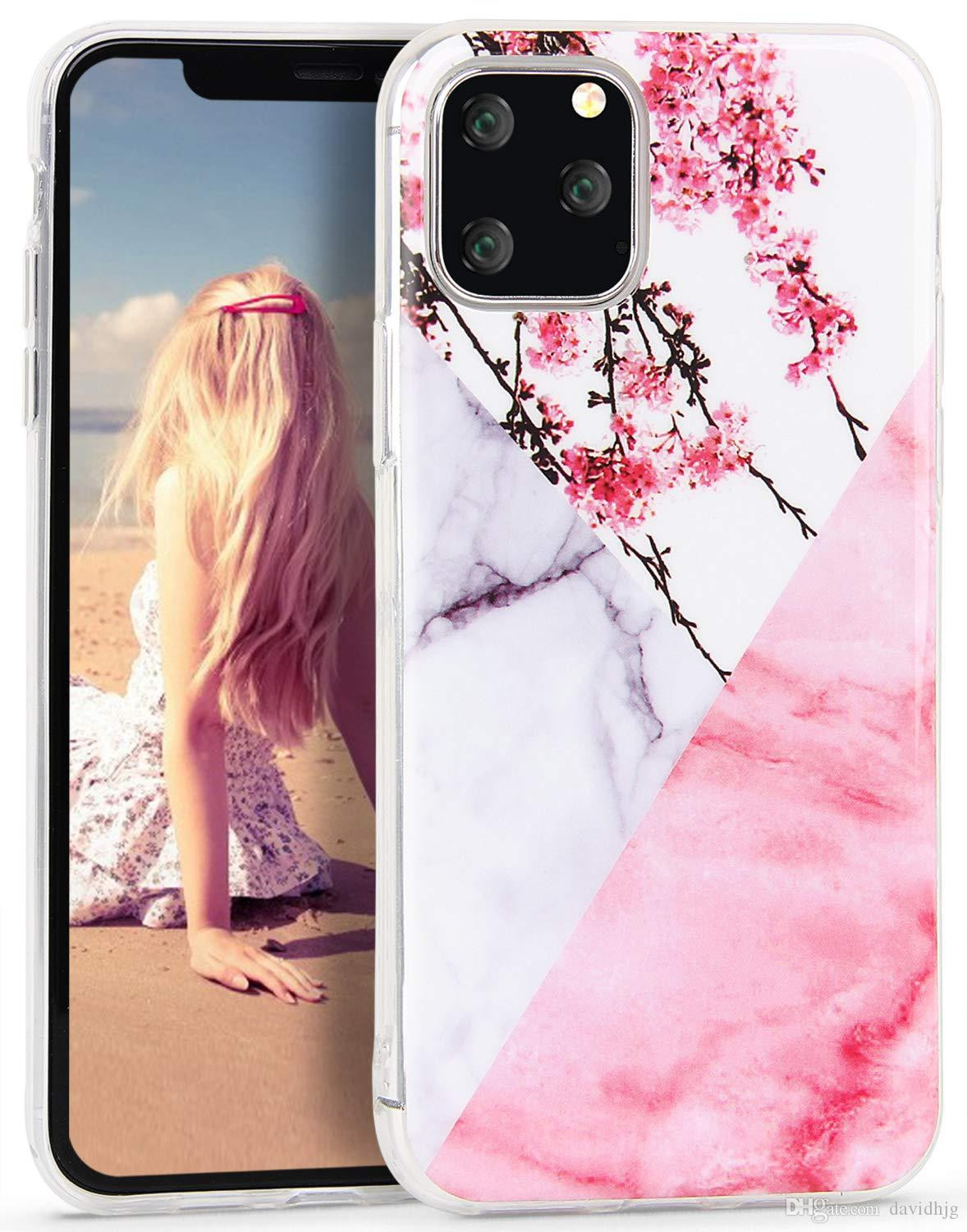iphone 11 pro case marble splice flowers