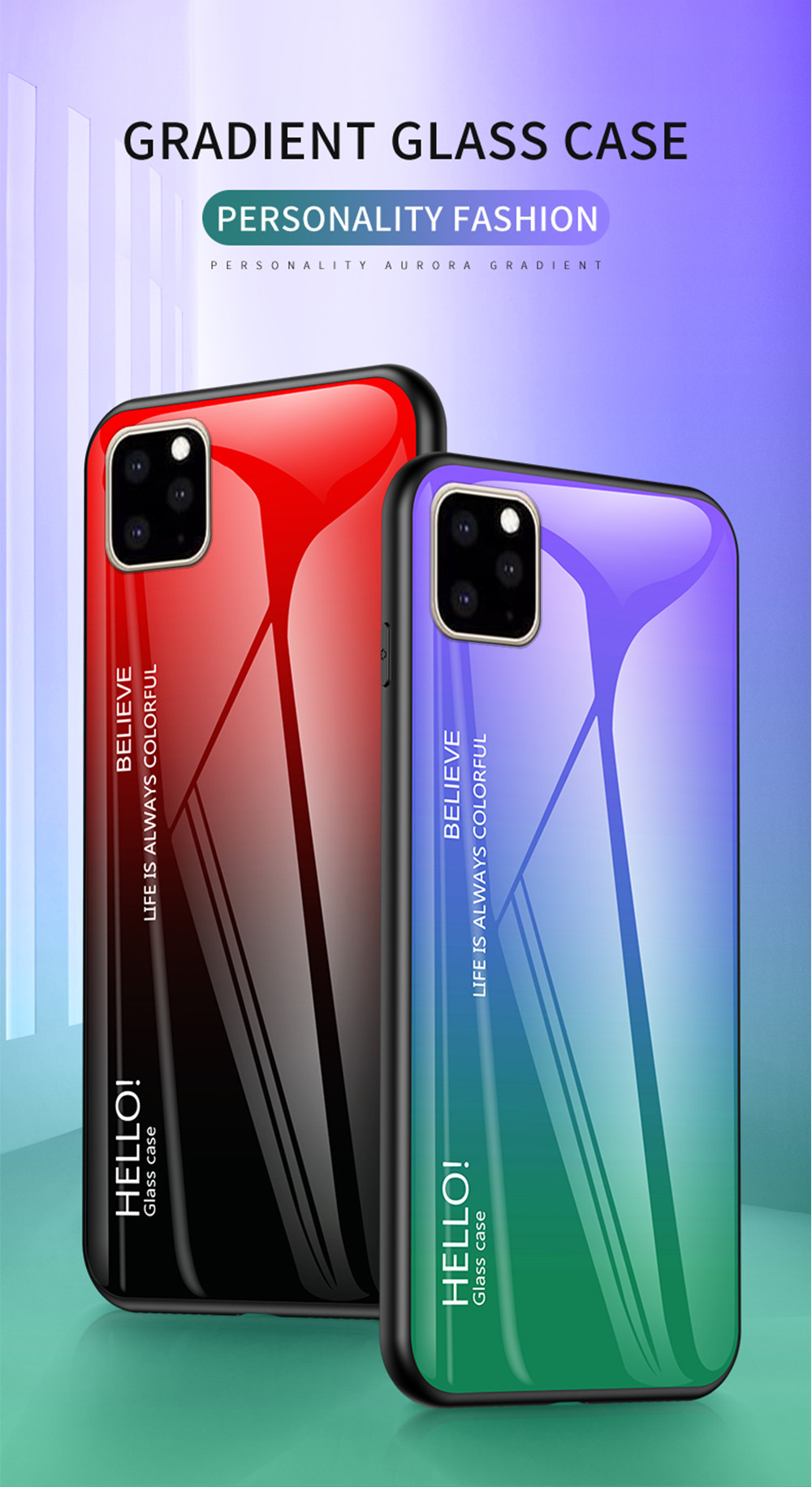 for iphone 11 pro max 6 5 inch gra nt color tempered glass pc tpu hybrid phone case red