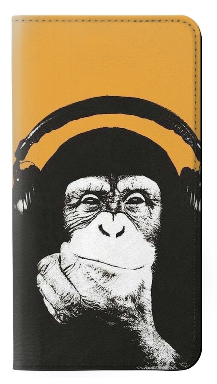 w2324 funny monkey with headphone pop music flip case cover for iphone 6 plus iphone 6s plus