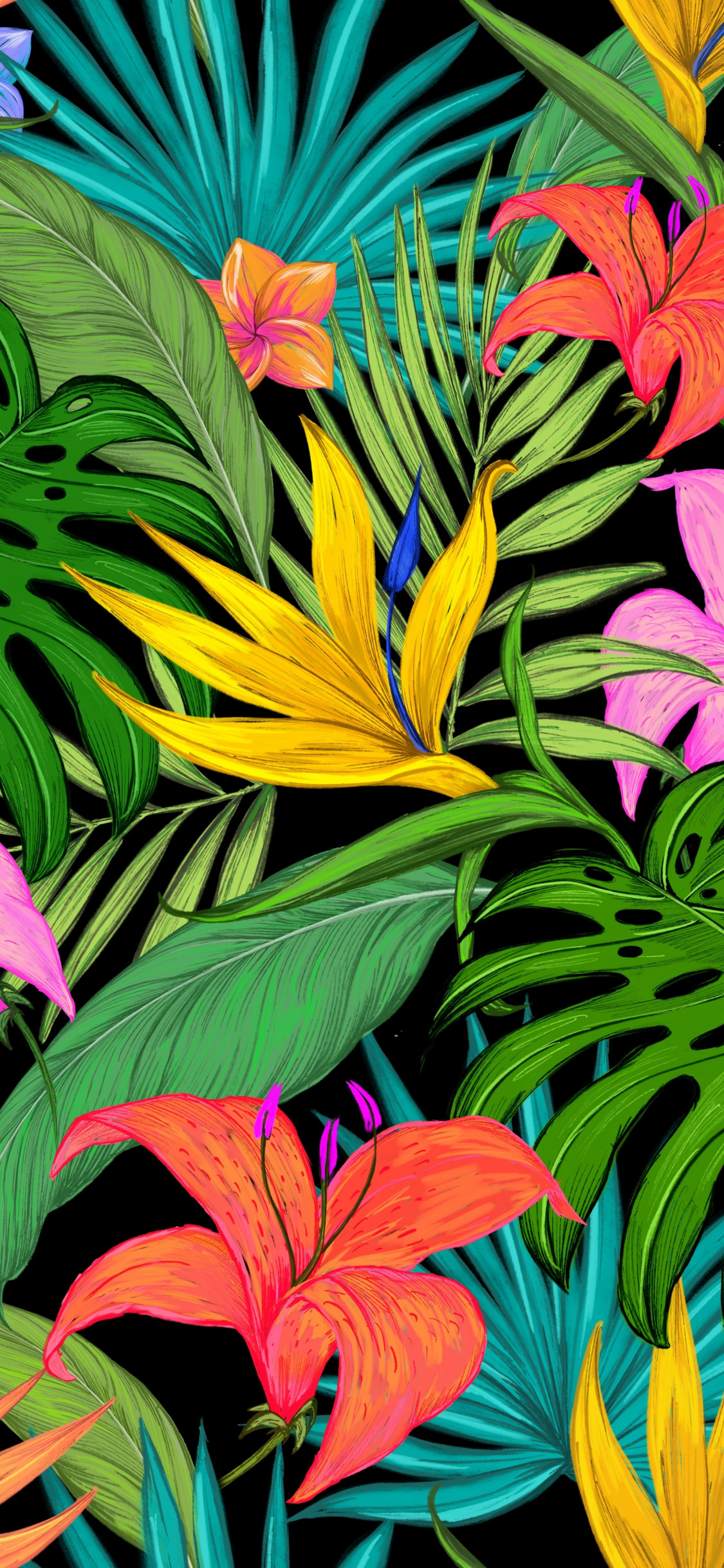 pattern tropical flowers leaves 5bc