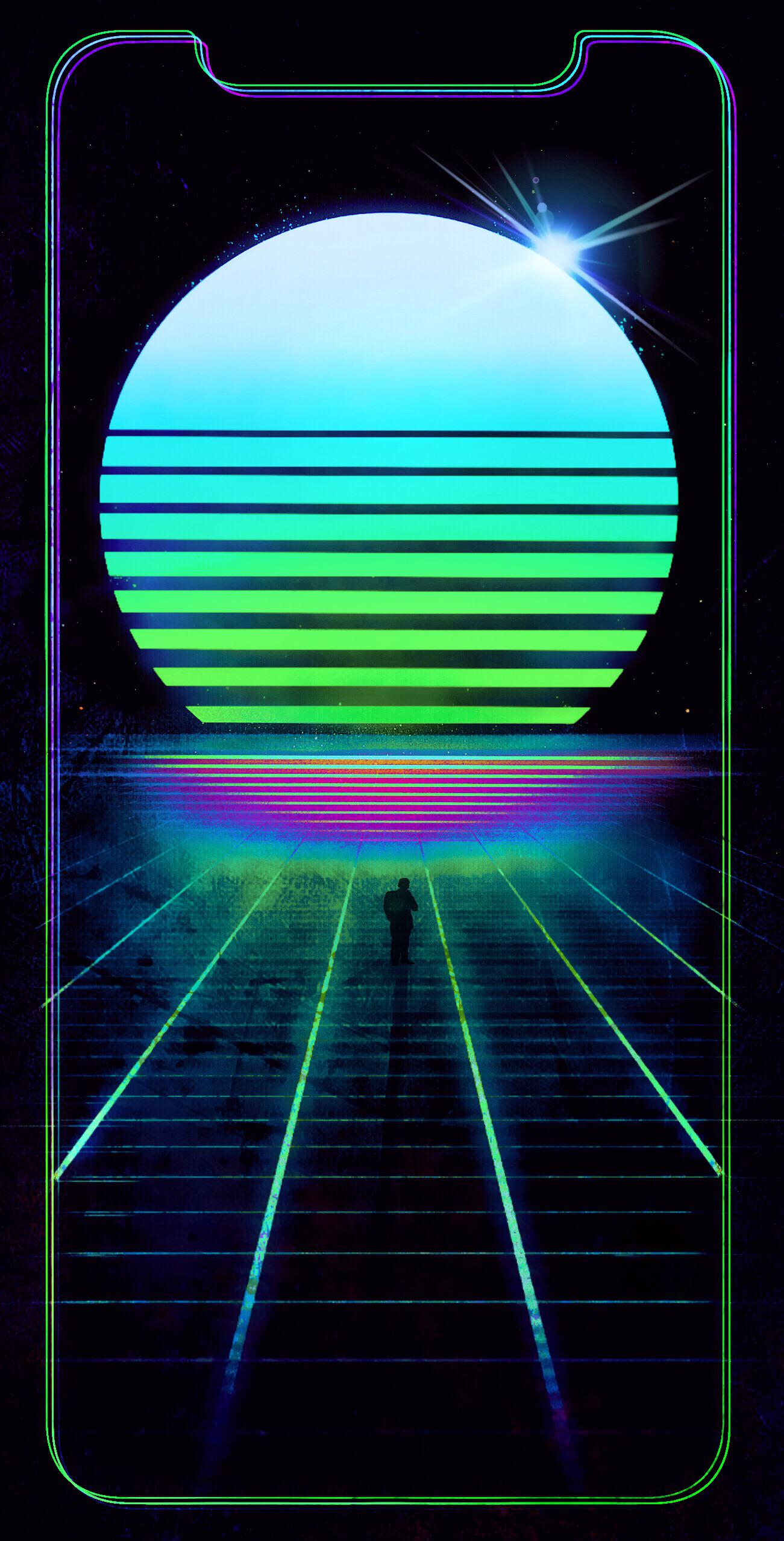 synthwave iphone x wallpaper