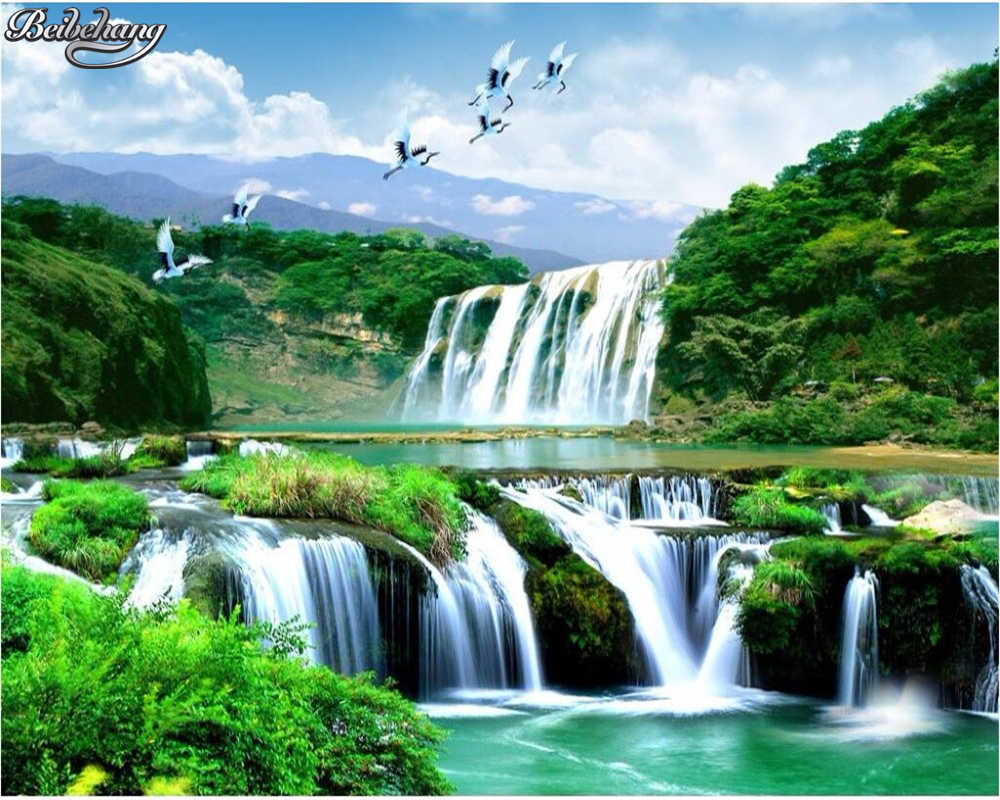 Beibehang Custom wallpaper luxury HD waterfall natural beauty landscape 3d large mural photo background wallpaper for q50