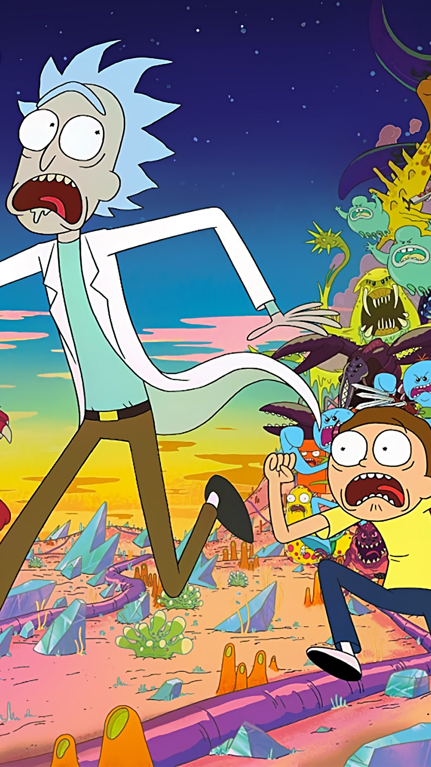 Rick and Morty Aliens 4K iphone wallpaper
