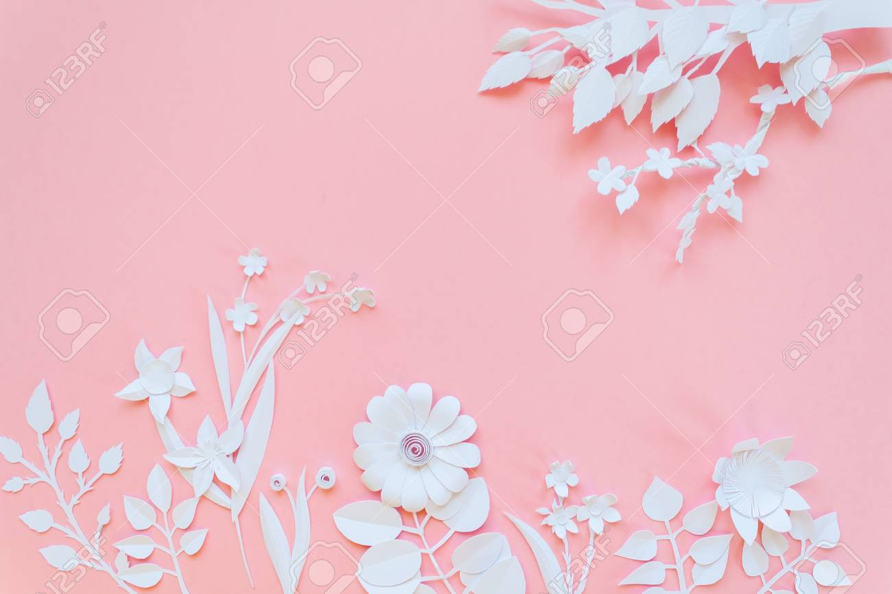 photo white paper flowers wallpaper on pink background spring summer background floral design elements