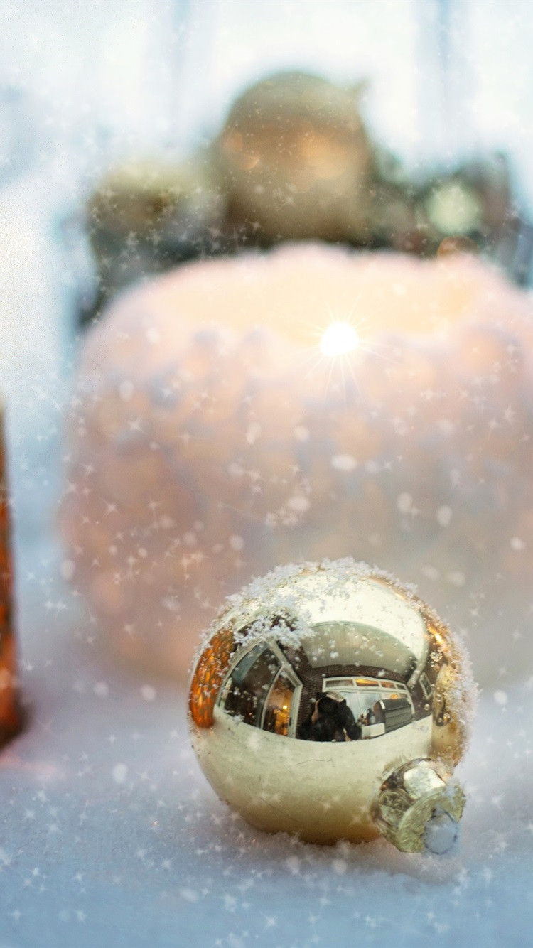 Christmas balls candle snow iphone wallpaper